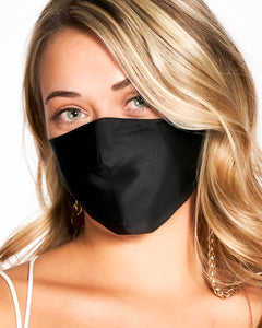 Silver Chain & Black Mulberry Silk Mask