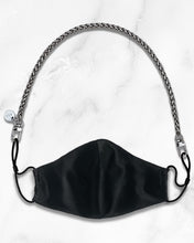 Load image into Gallery viewer, mini silver mask chain, reusable black silk face mask with filter pocket