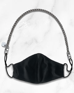 mini silver mask chain, reusable black silk face mask with filter pocket
