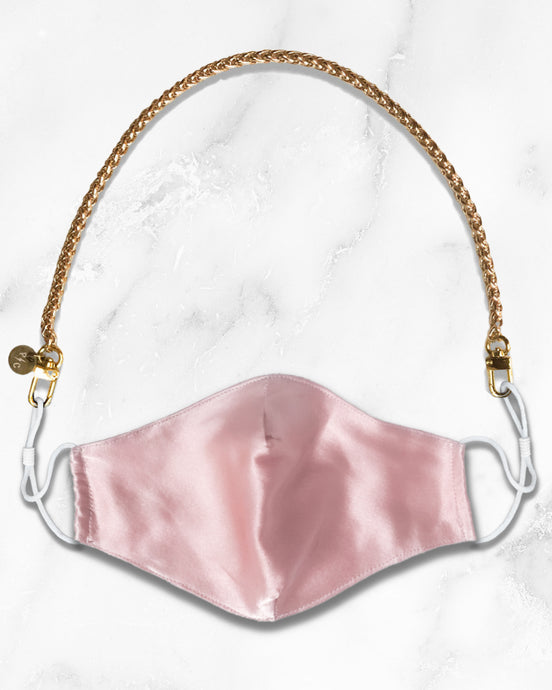 reusable pink silk mask with filter pocket, gold mask chain
