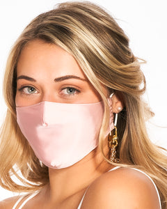 reusable pink silk face mask with filter pocket