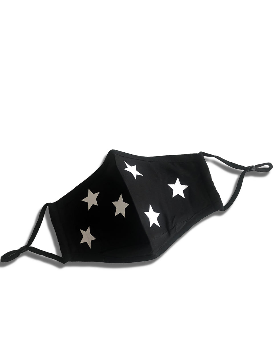 reusable black face mask with white stars and filter pocket