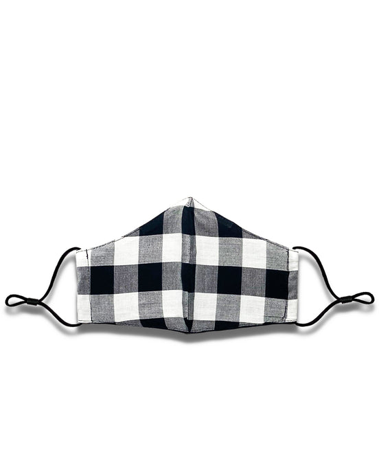 white and black plaid reusable face mask with filter pocket
