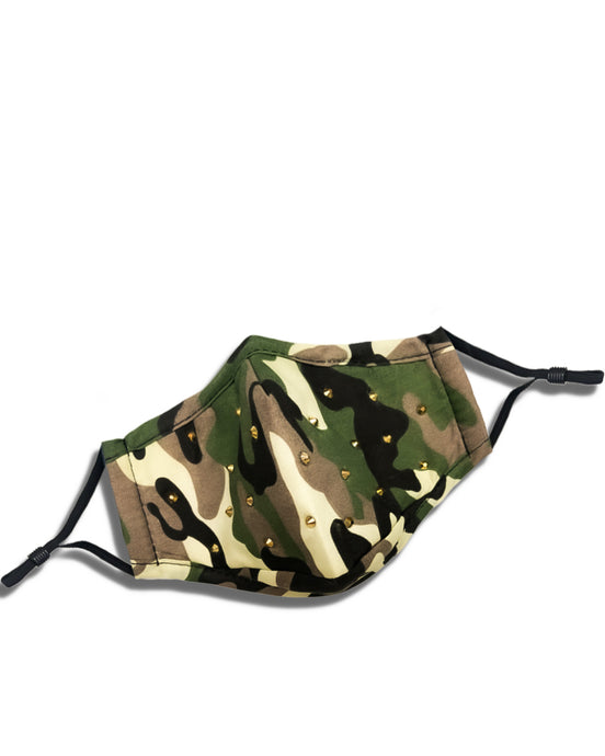 reusable camo face mask with filter pocket, gold studded