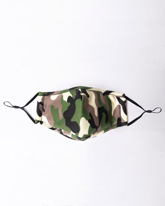 reusable camo face mask with filter pocket