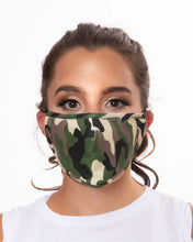 Load image into Gallery viewer, camo reusable face mask with filter pocket