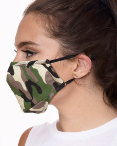 camo reusable face mask with filter pocket, adjustable ear loop face mask