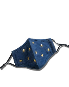 reusable denim gold star face mask with filter pocket