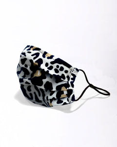 reusable tan leopard face mask with filter pocket