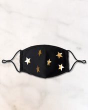 Load image into Gallery viewer, reusable black face mask with gold stars and filter pocket