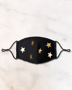 reusable black face mask with gold stars and filter pocket