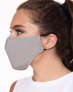reusable gray face mask with filter pocket