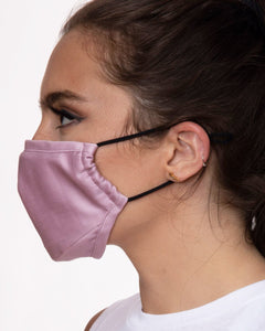 pink reusable face mask with filter pocket