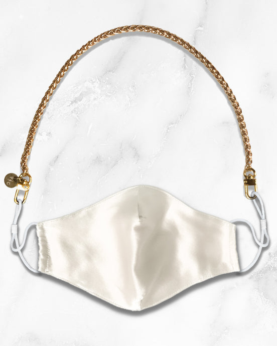 reusable white silk face mask with filter pocket, gold mask chain