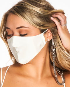 reusable white silk face mask with filter pocket, mini silver mask chain