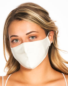 reusable white silk face mask with filter pocket