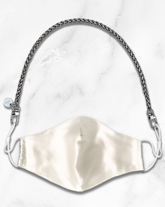 mini silver mask chain, reusable white silk face mask with filter pocket