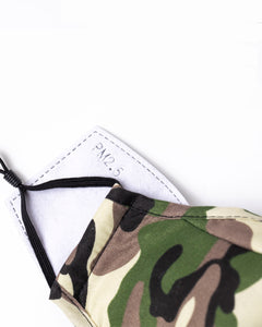 camo reusable face mask with filter pocket