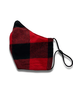 reusable red and black plaid face mask with filter pocket