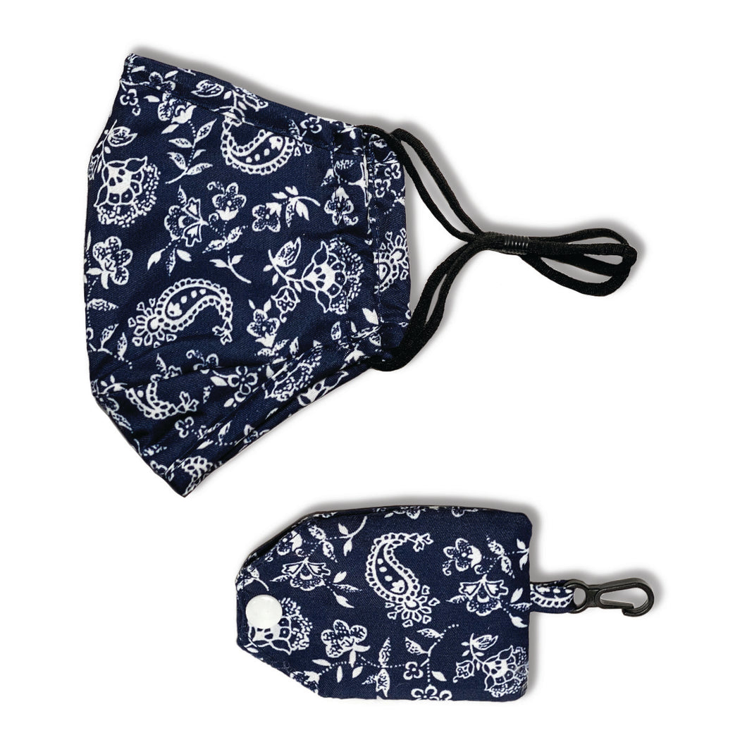 Navy Cream Floral Face Mask & Carrying Case
