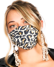 Load image into Gallery viewer, reusable tan leopard mask with filter pocket, brown tortoise mask chain