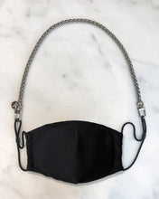 Load image into Gallery viewer, silver mini mask chain, reusable black face mask with filter pocket