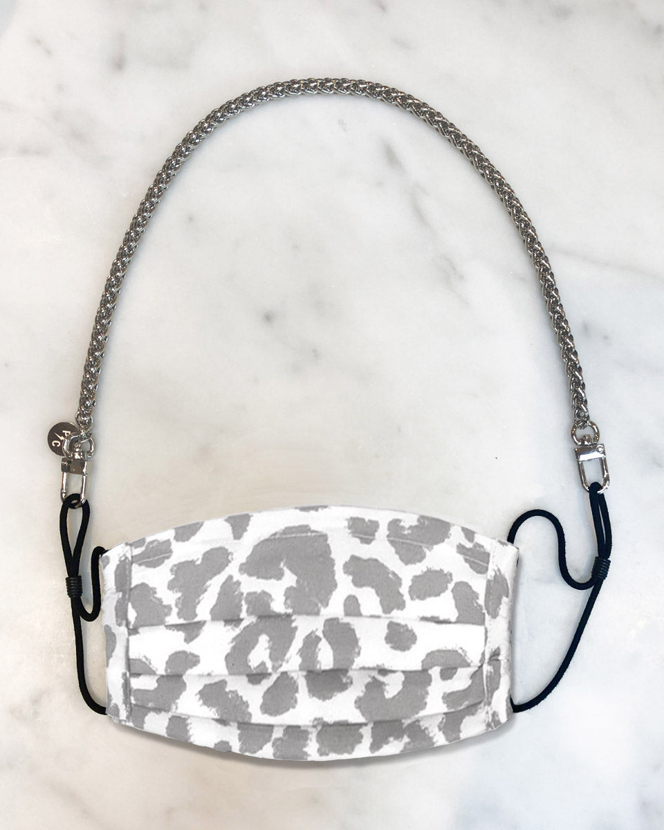 mini silver mask chain, reusable white leopard face mask with filter pocket