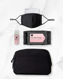 black reusable face mask with filter pocket, 2 ounce hand sanitizer alcohol based, antibacterial wipes, black belt bag