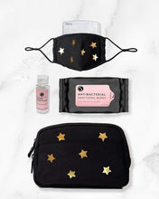 Load image into Gallery viewer, black gold reusable face mask with filter pocket, 2 ounce hand sanitizer alcohol based, antibacterial wipes, belt bag with gold stars