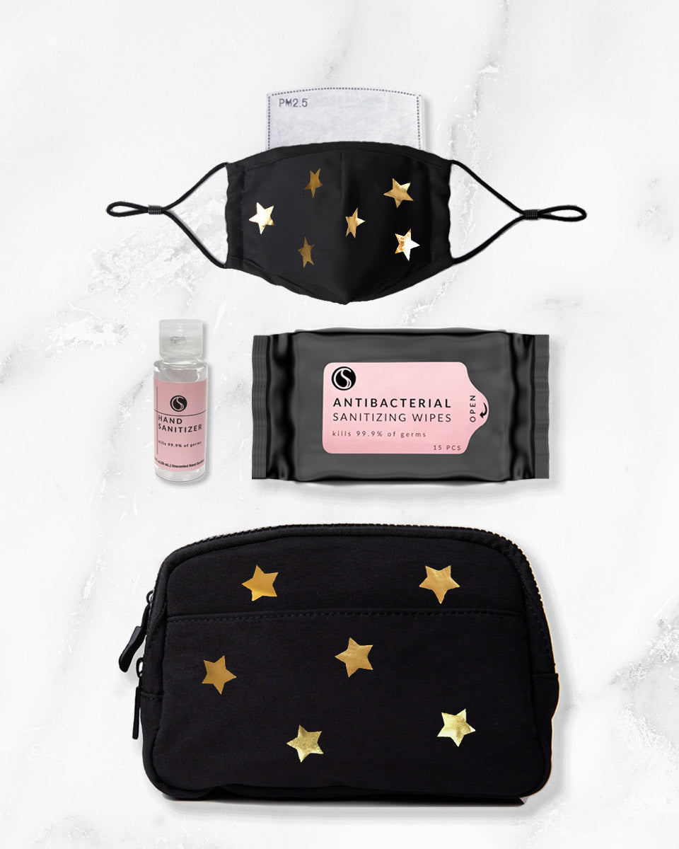 black gold reusable face mask with filter pocket, 2 ounce hand sanitizer alcohol based, antibacterial wipes, belt bag with gold stars