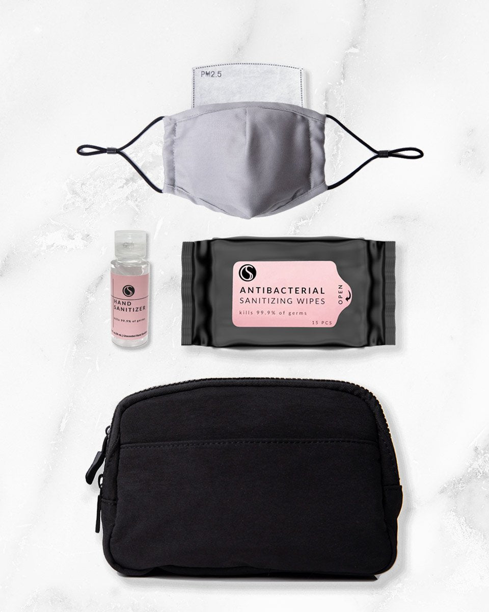 grey reusable face mask with filter pocket, 2 ounce hand sanitizer alcohol based, antibacterial wipes, black belt bag