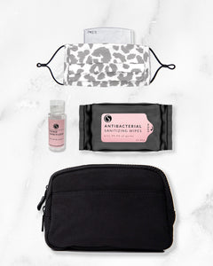 white leopard reusable face mask with filter pocket, 2 ounce hand sanitizer alcohol based, antibacterial wipes, black belt bag