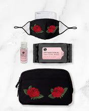 Load image into Gallery viewer, black and red rose reusable face mask with filter pocket, 2 ounce hand sanitizer alcohol based, antibacterial wipes, belt bag with red roses