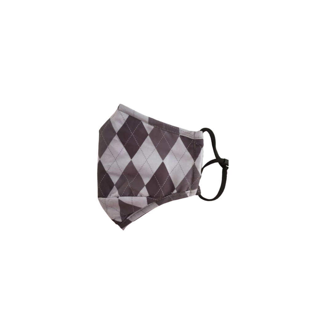 grey argyle reusable face mask with filter pocket