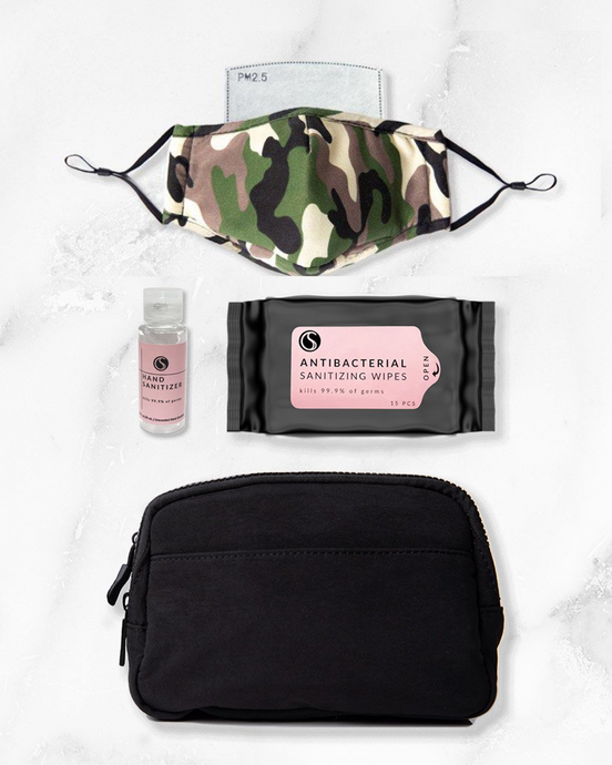 camo reusable face mask with filter pocket, 2 ounce hand sanitizer alcohol based, antibacterial wipes, black belt bag