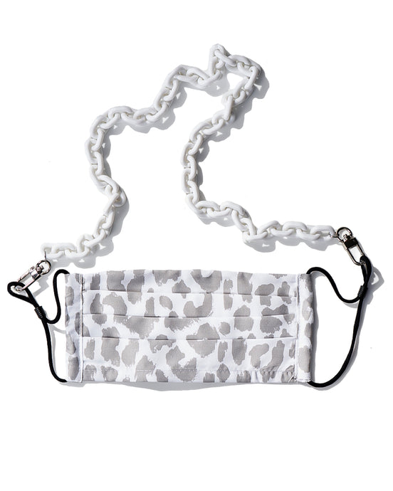 white mask chain, white leopard reusable face mask with filter pocket