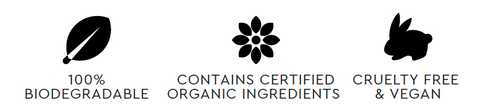 Ms BROWN 100% biodegradable, contains certified organic ingredients, cruelty free and vegan
