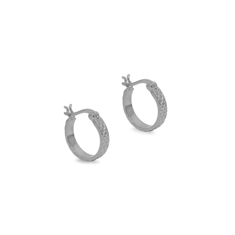 Silver Quilted Mini Hoops