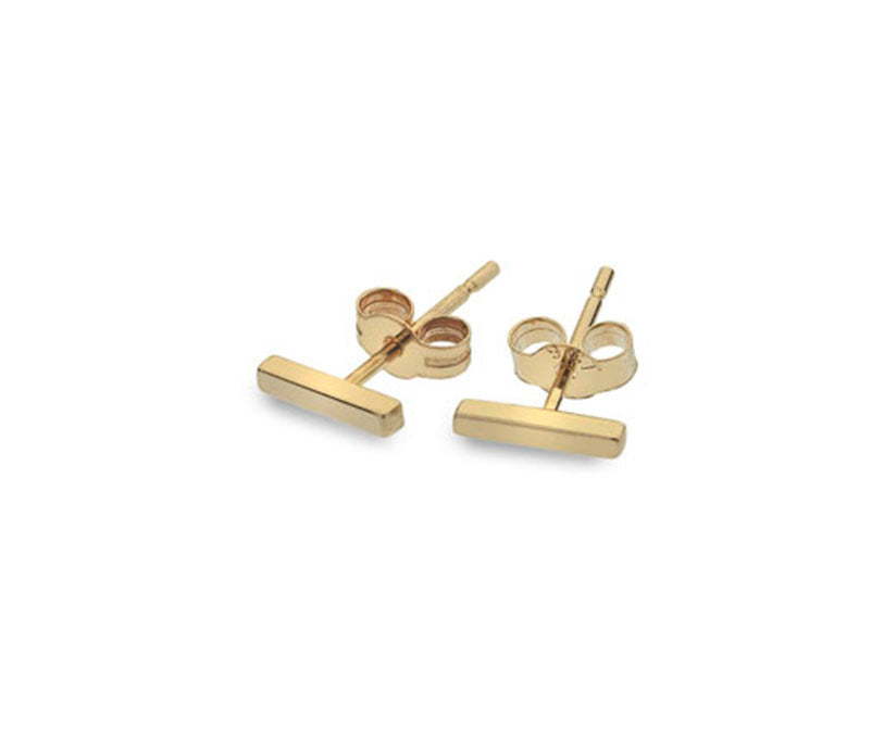 9ct Gold Square Bar Stud Earrings