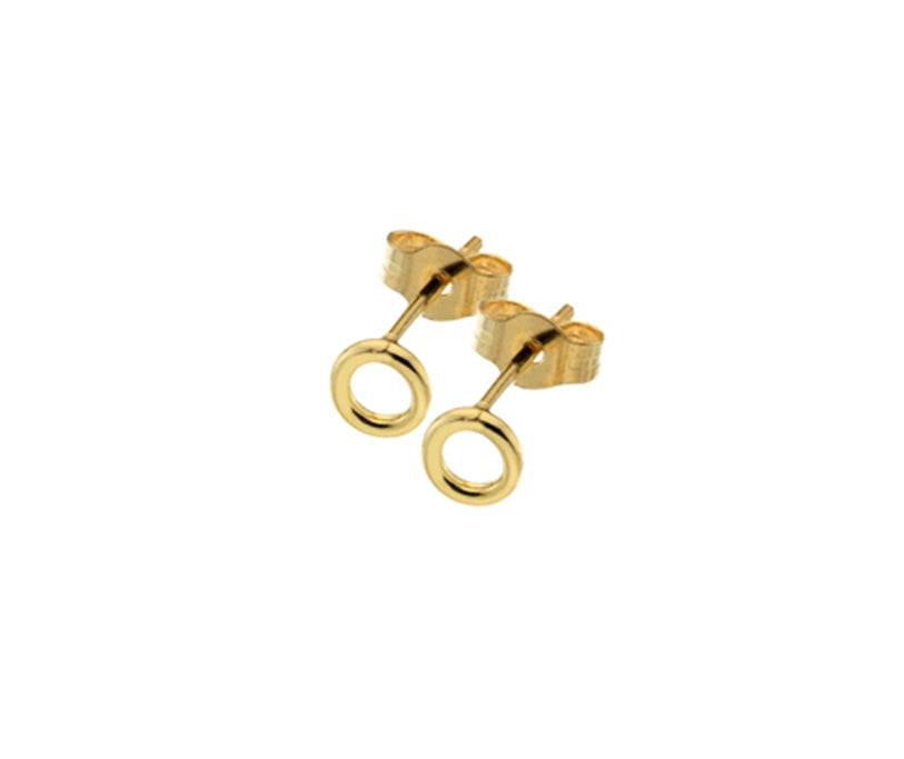 9ct Gold Open Circle Stud Earrings
