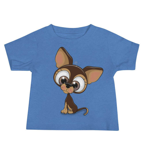 Baby's Cute and Cuddly Dog Crew Neck T-shirt - Heather Columbia Blue