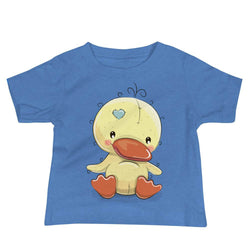 Baby's Cute and Cuddly Duckling Crew Neck T-shirt - Heather Columbia Blue