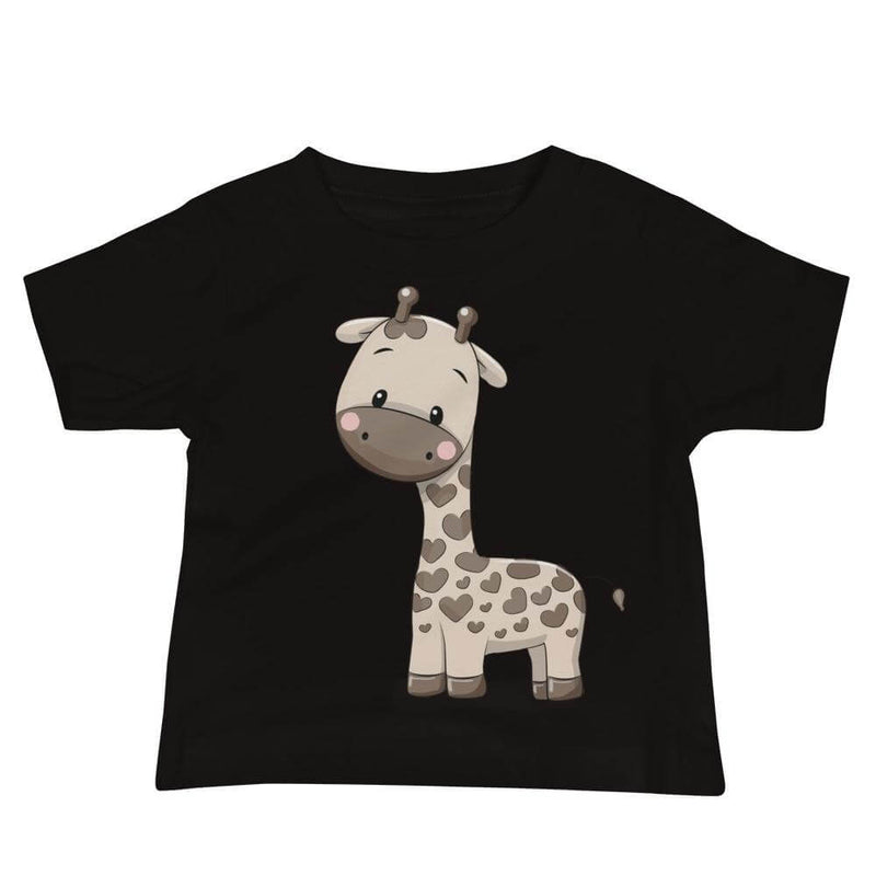 Baby's Cute and Cuddly Giraffe Calf Crew Neck T-shirt - Black