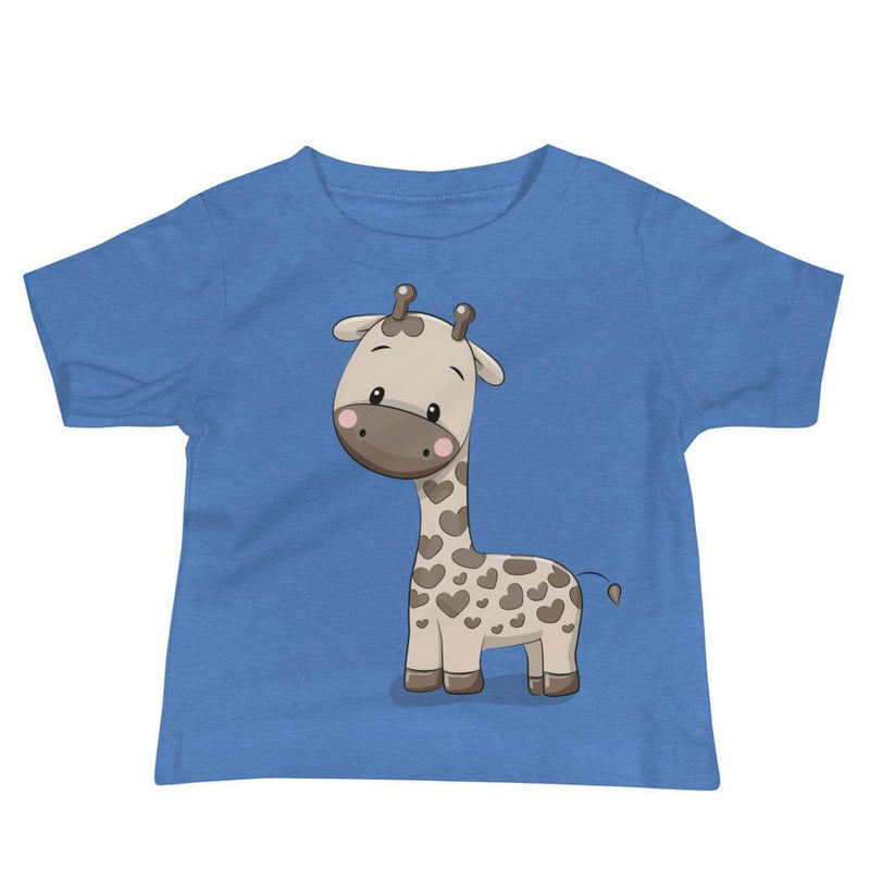 Baby's Cute and Cuddly Giraffe Calf Crew Neck T-shirt - Heather Columbia Blue