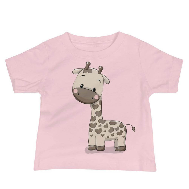 Baby's Cute and Cuddly Giraffe Calf Crew Neck T-shirt - Pink