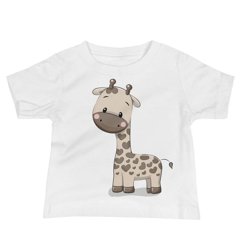 Baby's Cute and Cuddly Giraffe Calf Crew Neck T-shirt - White