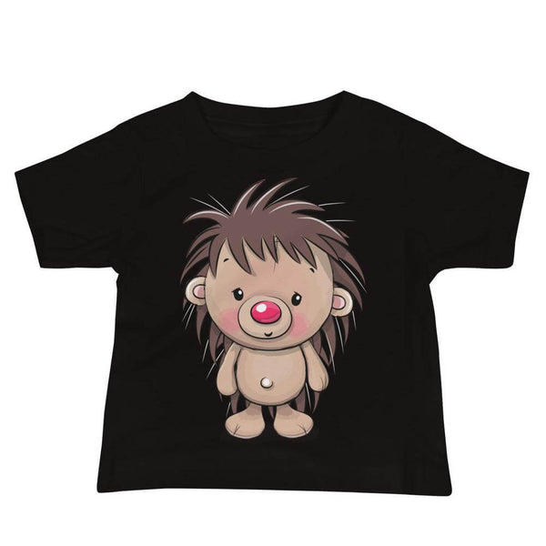 Baby's Cute and Cuddly Hedgehog Crew Neck T-shirt - Black