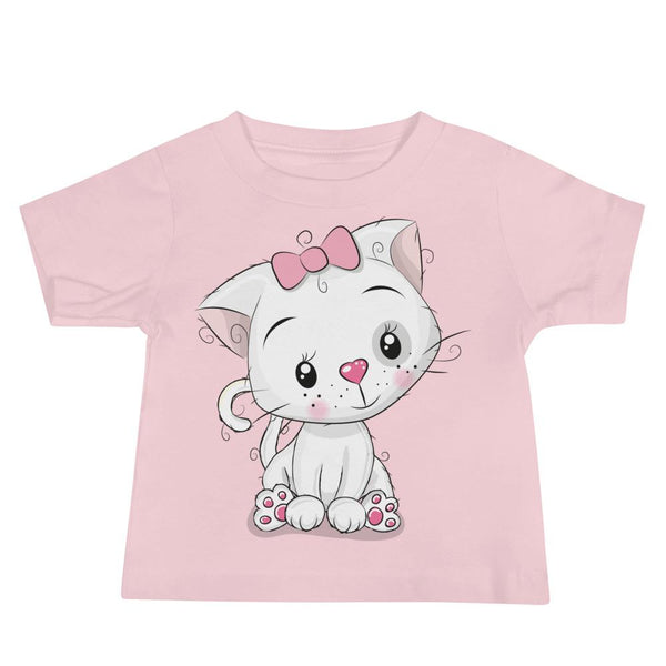 Baby's Cute and Cuddly White Kitten Crew Neck T-shirt - Pink