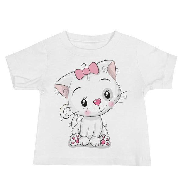 Baby's Cute and Cuddly White Kitten Crew Neck T-shirt - White