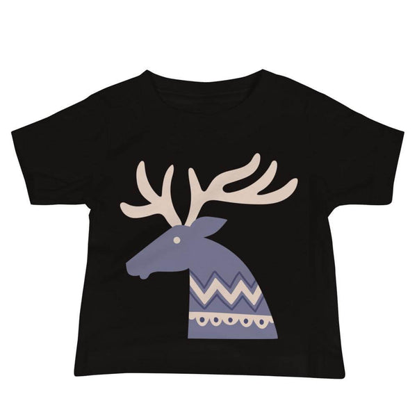 Baby's Deer Crew Neck T-shirt in Folklore Art Style - Black